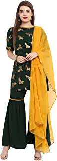 Janasya Women's Dark Green Crepe Kurti With Sharara And Dupatta