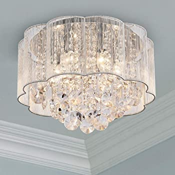 3 Color Dimming Escalera SHFGOO Moderno Crystal LED Ceiling Light K9 Cristal de acero inoxidable Chandelier Decor Perfect para pasillo Dormitorio Comedor