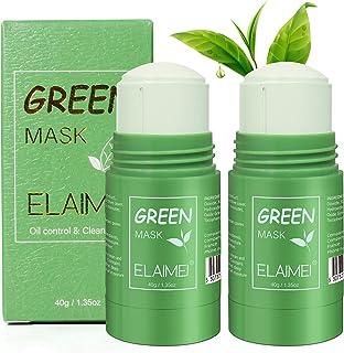 Mascarilla de té verde, paquete de 2 mascarilla verde limpiadora de control de aceite de limpieza profunda purificante, ma...