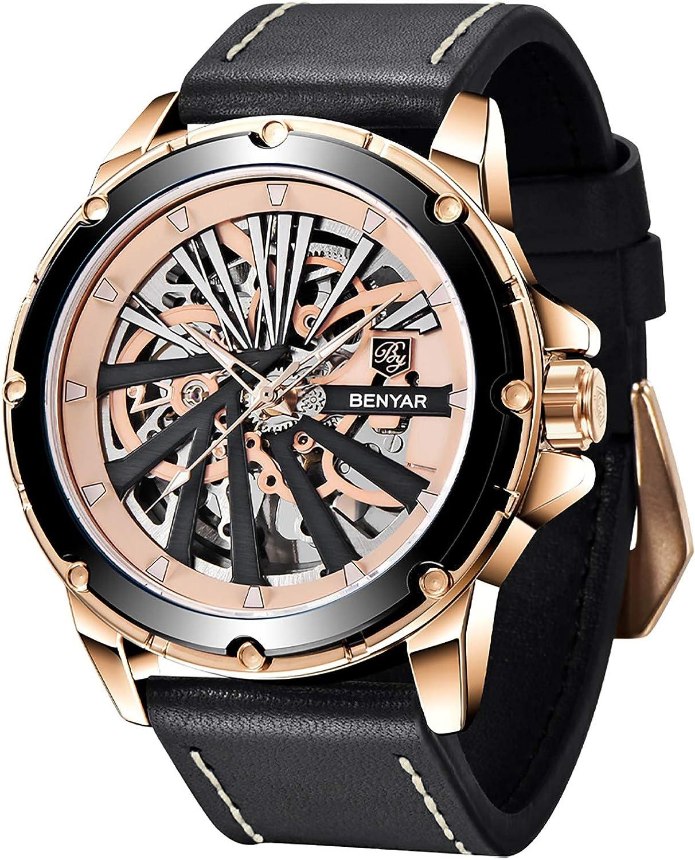 BENYAR Reloj para Hombre Automático Mecánico Movimiento Correa de Cuero 30M Impermeable 46mm Dial Esqueleto Reloj de Pulsera para Hombre Empresas & Casual Vacaciones