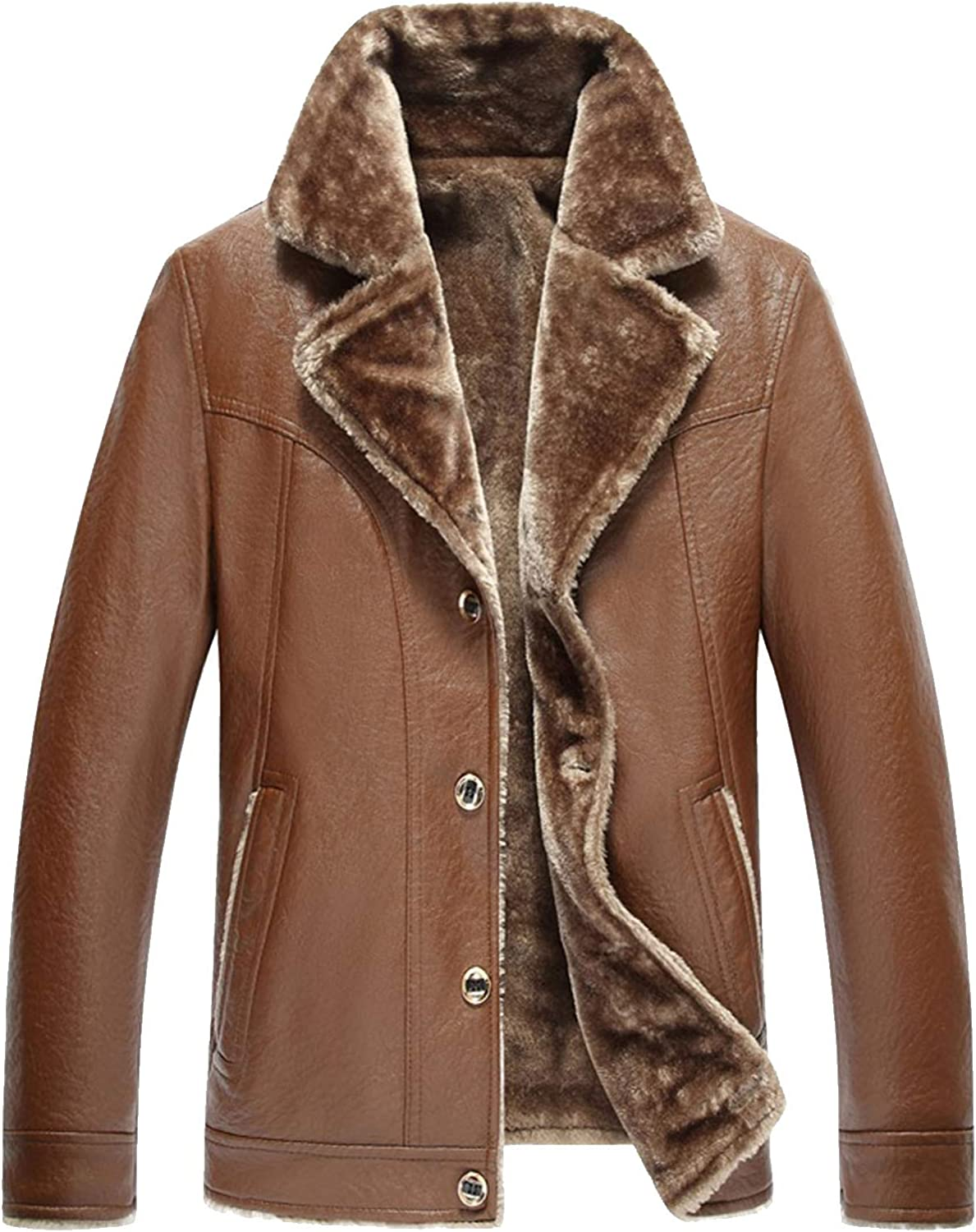Flygo Men Thick Faux Sherpa Fleece Lined Leather PU Moto Biker Jacket Coat with Button