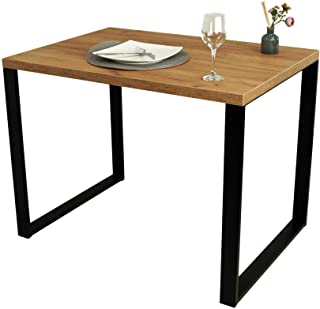 POKAR Mesa De Comedor Mesa De Cocina Mesa De Comedor Sólida con Patas De Metal Negro 100 x 60 cm, Roble Artesanal Dorado