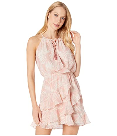 American Rose Juniper Tropical Halter Dress with Ruffles (Blush/Ivory) Women
