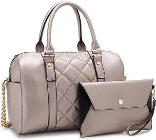 Women's Barrel Purse Satchel Handbag Top-handle Work Tote Shoulder Bag for Ladies with Long Strap
