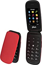 Plum Flipper 2 - Flip Phone Unlocked GSM Big Screen Big Keypad FM Radio Camera Flash Light Tmobile MetroPCS Simple Mobile Straight Talk, Red