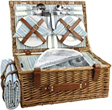 HappyPicnic Wicker Picnic Basket Set for 4 Persons | Large Willow Hamper with Large Insulated Cooler Compartment, Free Wat...