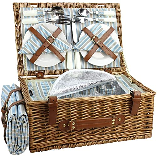 Wicker Picnic Basket Set for 4 Persons   Large Willow Hamper with Large Insulated Cooler Compartment, Free Waterproof Blanket and Cutlery Service Kit-Classical Brown