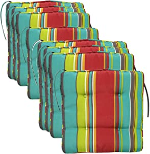 Set of 8 Water Resistance Outdoor/Indoor Dining Chair Cushions Striped 15x15 inch Patio Chair Seat Pads with Ties