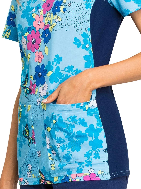 Cherokee Womens Mock Wrap Top/in Flutter Beauty
