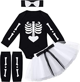 Kaerm Baby Mädchen Halloween Outfits Schädel Skelett Strampler Mini Tutu Rock Beinwärmer Stirnband Set für Kleinkinder Kleinkind Gr. 50-92