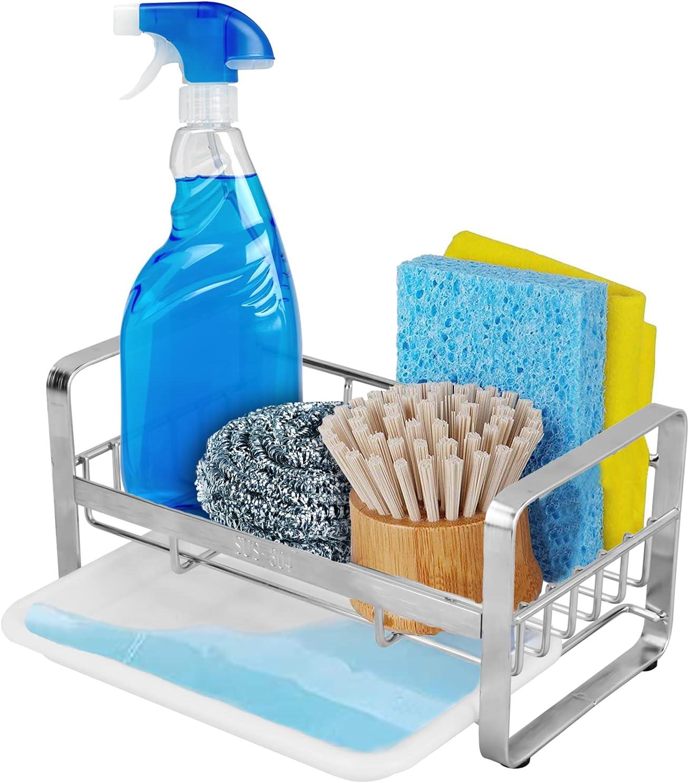 Organizador de Fregadero de Cocina, Organizador Sink Soporte de Esponja con toallero Soporte y Organizadores para Utensilios, con Bandeja extraíble,18.8 x 11.6 x 10.2 cm