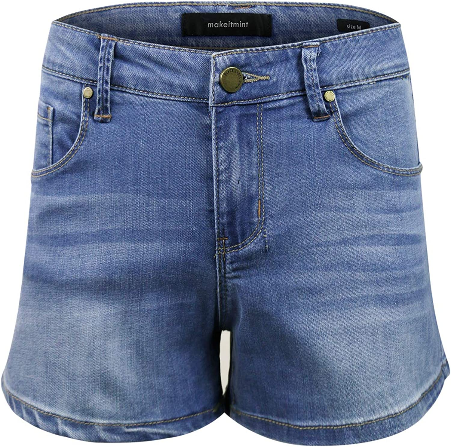 Makeitmint Women's Basic Casual Classic MidRise Denim Jean Pant Shorts [S3XL]