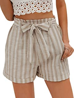 Miessial Women's Casual Belted High Waist Shorts Striped Beach Summer Shorts with Pockets