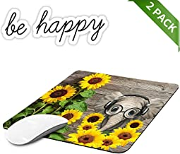 Office Rectangle Mouse Pad, Non-Slip Rubber Gaming Mouse Pads for Laptop, Computers and PC Home Office Accessories, Cute Mousepad and Laptop Sticker 1 Pcs, Sunflowers and Elephants