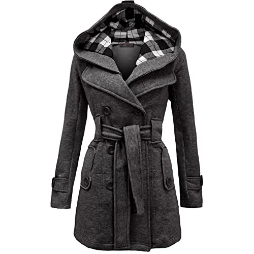 80962bd66a Envy Boutique Women s Military Button Hooded Fleece Belted Jacket