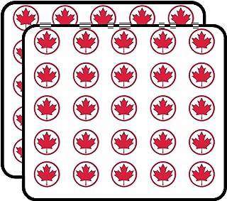 Round Maple Leaf (from Canada Canadian Flag) Sticker for Scrapbooking, Calendars, Arts, Kids DIY Crafts, Album, Bullet Journals