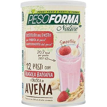 Pesoforma Nature Smoothie Pasto Sostitutivo Dimagrante, Shake dimagrante gusto fragola banana, con crusca d'avena, SOLO 203 Kcal