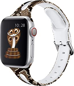 Henva Compatible with Apple Watch Band SE 40mm 38mm for Women Men, Soft Silicone Narrow Replacement Thin Cute Strap with Fadeless Print Pattern for iWatch 6/5/4/3/2/1, Brown Snake