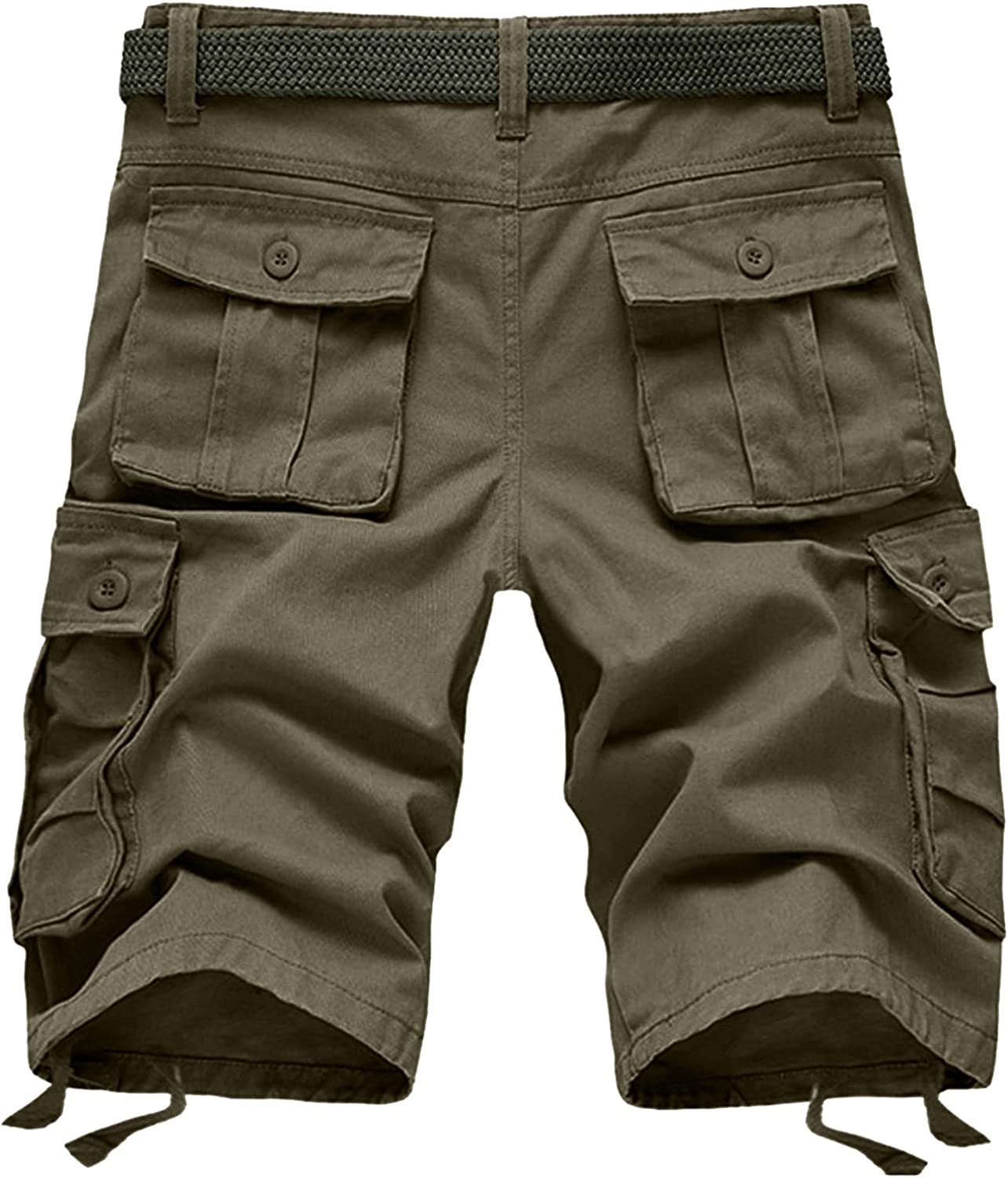 ZCAITIANYA Men's Casual Cargo Shorts Solid Hiking Relaxed Workout Outdoor Elastic Waist Stretch Summer with Multi Pockets