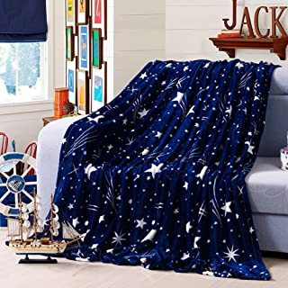 ChezMax Extra Soft Microfiber Thickening Coral Fleece Throw/Bed Blanket Lightweight Breathable Plush Blanket Starry Sky Blue Twin (59