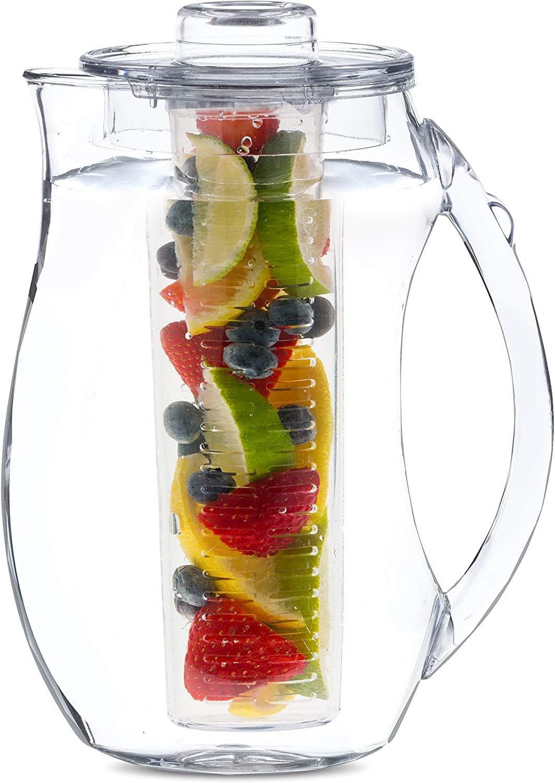 Large Fruit Infuser Water Pitcher (2.9 Quart / 93 Oz) – Shatterproof Acrylic Infusion Jug for Iced Tea, Juice, Beverages, Water, Lemon, Fruit & Herbs – BPA Free