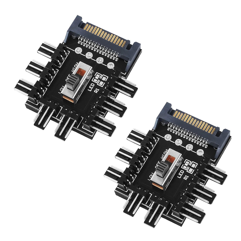 12V 3 Pines Controlador de Velocidad de Ordenador 2 Piezas Divirsor de Ventilador de Refrigeración Sata, 1 a 8 Vías Controlador de Ventilador de Computadora de PC