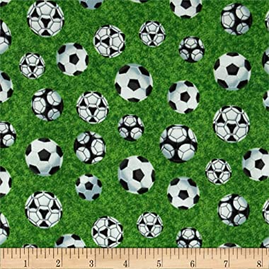 Fabri-Quilt Sports Soccer Balls on Green Multi Fabric By The Yard