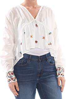 Free People, Women's Ava Embroidered Blouse, Ivory, Size L