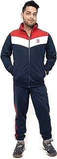 NOROZE Adult Men's V Block Colour Stripe Tracksuit Set Gym Jogging Bottoms Trouser Tops Full Zip Jacket with Pocket S-2XL