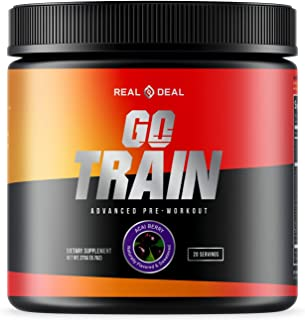 GO Train Pre-Workout, All Natural, Long Lasting Energy/Focus Pre Workout, Pump/Performance, Nootropic Infused, Keto/Vegan ...