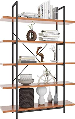 Amazon Com Hsh 5 Shelf Vintage Industrial Rustic Bookshelf Wood And Metal Bookcase Open Etagere Book Shelf Gray Oak Furniture Decor