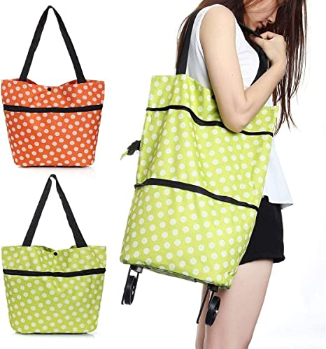 Anadi Polyester Trolley Luggage Bags Traveling Vegetable Grocery Clothing Bag With Light Weight And Medium Size With Wheels For Girls Boys Women Ladies Men Assorted Color 1Pcs