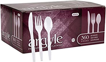White Plastic Silverware | Heavy Duty & Solid Cutlery Disposable Utensils Set | Perfect for Weddings, Buffets, Luncheon & ...