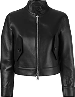 VearFit Sleeken Black and Red Real Leather Coat for Women Missy Regular