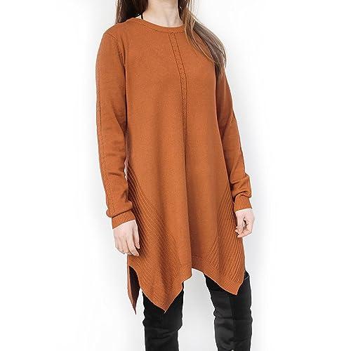 f8448ec5676307 DSUK Womens Soft Cosy Long Sleeve Sweater Dress Jumper Plaid Knee Length  Baggy Crew Neck Fancy