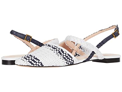J.Crew Woven Marina Slide with Ankle Strap (Ivory/Navy/Silver) Women