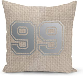 Number 99 Beige Linen Pillow with Metalic Silver Foil Print College Jersey Ninety Nine Couch Pillows
