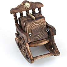 Fine Craft India Wooden Antique Look Chair Shape Coaster Set Gift Item