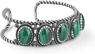 Brazalete de 5 piedras preciosas de piedras preciosas de malaquita verde de plata esterlina americana tamaño grande