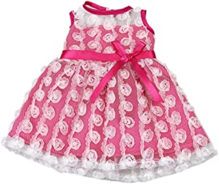 AOFUL Bitty Baby Doll Clothes Dress, Pink Pretty Summer Dress Fits Outfit 15