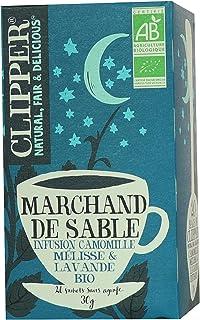 Clipper Infusion Bio Marchand de Sable - Infusion camomille, mélisse et lavande - 20 sachets Non Blanchis et Sans Agrafe -...