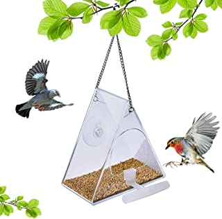 SUQ I OME Hanging Clear Acrylic Window Wild Bird Feeders with Chains,Squirrel Proof,Easy to Clean,Outdoors Birdfeeder for ...
