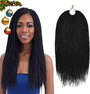 Urqueen Ombre Senegalese Crochet Hair Braids(6 Pack,75g/Pack) 18 Inch 30 Strands/Pack Synthetic Hair Twist Hair Extensions For Women (#1B)