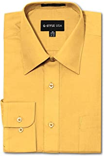 G-Style USA Men's Regular Fit Long Sleeve Solid Color Dress Shirts - Yellow - X-Large - 32-33