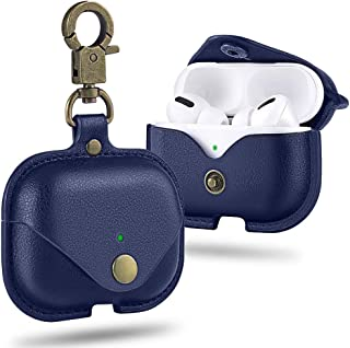 COTEetD Leather Series AirPods Pro Case, Full-Body Rugged Protective Wireless Charging Cover Case Skin with Keychain [Fron...
