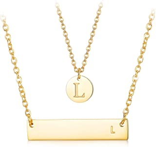 2Pcs Letter Necklace Initial Chain Gold Tone Initial Bar Necklace Disc Alphabet Pendant Necklace Mother's Day Jewelry Gift for Women