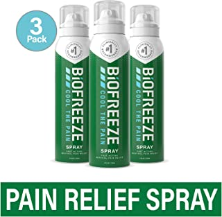 Biofreeze Pain Relief Spray, 4 oz. Aerosol Spray, Pack of 3, Colorless (Packaging May Vary)