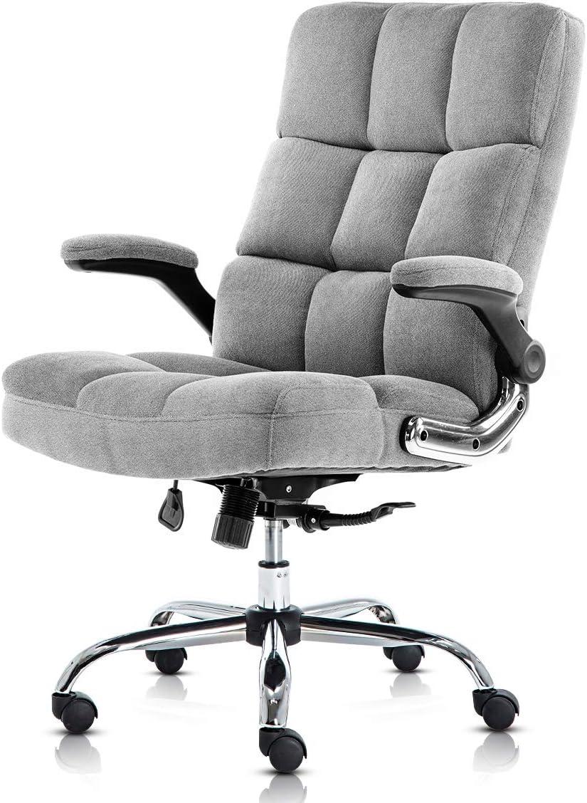 SP Bürostuhl mit Samtbezug, verstellbarer Neigungswinkel und Klapparme, Chefsessel, Computer-Schreibtischstuhl, dicke Polsterung für Komfort und…
