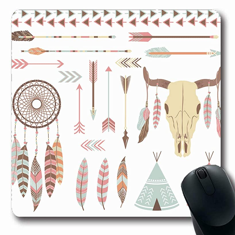 JAMRON Mousepad Oblong 9.8x11.4 Inches Headdress Native Tribal Indian American Aztec Catcher Dream Drawing Navajo Revival Non-Slip Rubber Mouse Pad Laptop Notebook