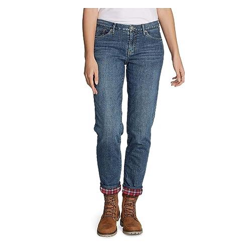 Eddie Bauer Womens Boyfriend Flannel-Lined Jeans